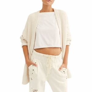 Free People High Hopes Ivory Cardigan Sweater NEW